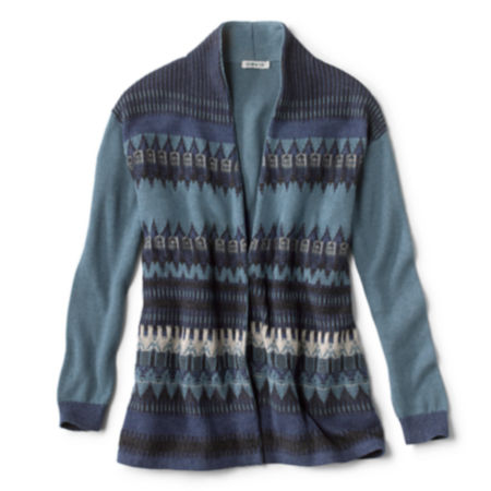 A blue patterned cardigan