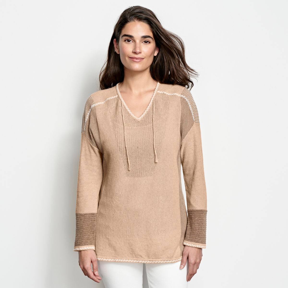Pintucked Linen-Blend Sweater - image number 0