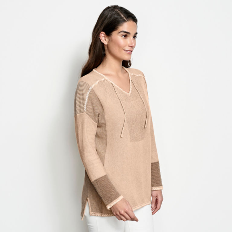 Pintucked Linen-Blend Sweater -  image number 1