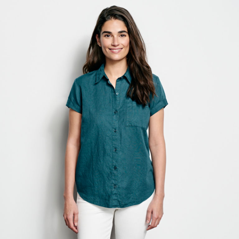 Linen/Cotton Garment-Dyed Short-Sleeved Shirt -  image number 0