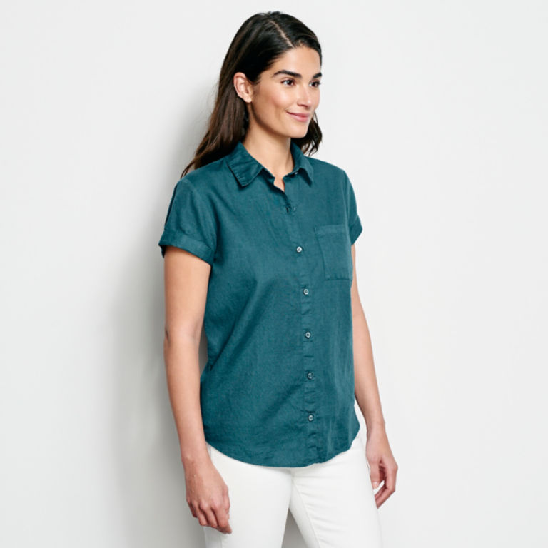 Linen/Cotton Garment-Dyed Short-Sleeved Shirt -  image number 1