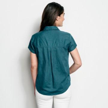 Linen/Cotton Garment-Dyed Short-Sleeved Shirt -  image number 2