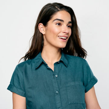 Linen/Cotton Garment-Dyed Short-Sleeved Shirt -  image number 3