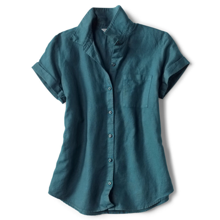 Linen/Cotton Garment-Dyed Short-Sleeved Shirt -  image number 4