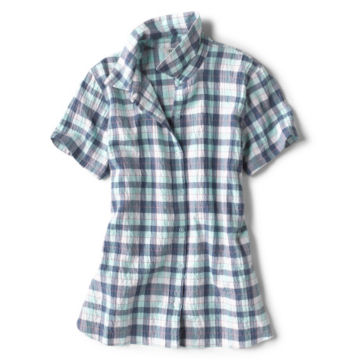 Short-Sleeved Crushed Herringbone Shirt -  image number 4