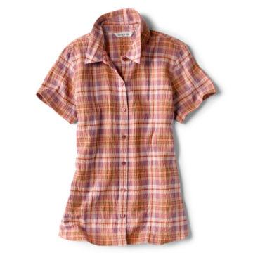 Short-Sleeved Crushed Herringbone Shirt -  image number 0