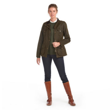 Barbour® Winter Defence Waxed Cotton Jacket - OLIVE image number 3