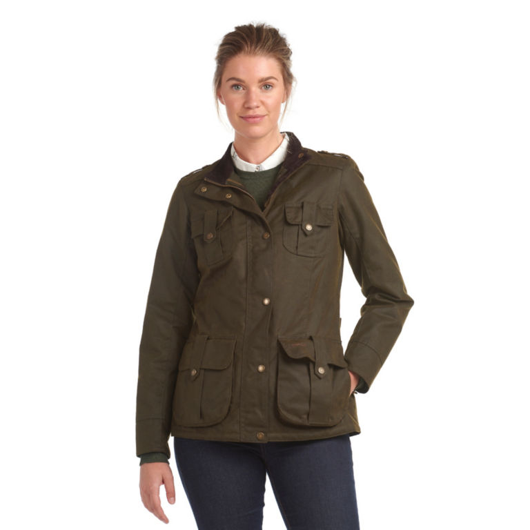 Barbour® Winter Defence Waxed Cotton Jacket - OLIVE image number 1
