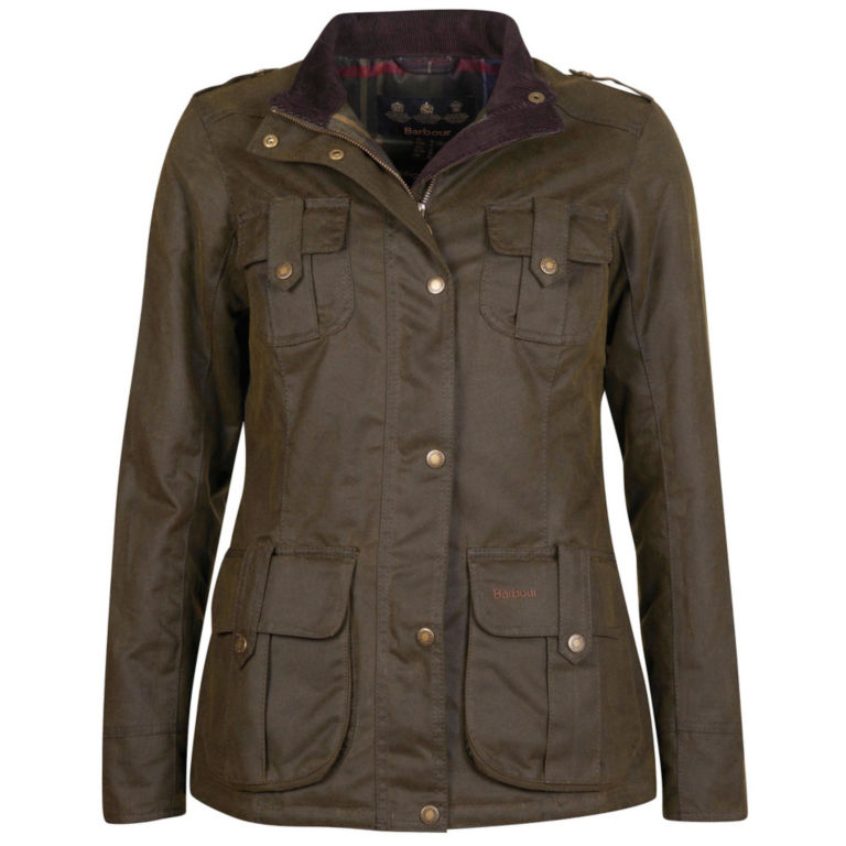 Barbour® Winter Defence Waxed Cotton Jacket - OLIVE image number 0