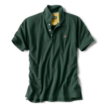 dark green short-sleeved polo