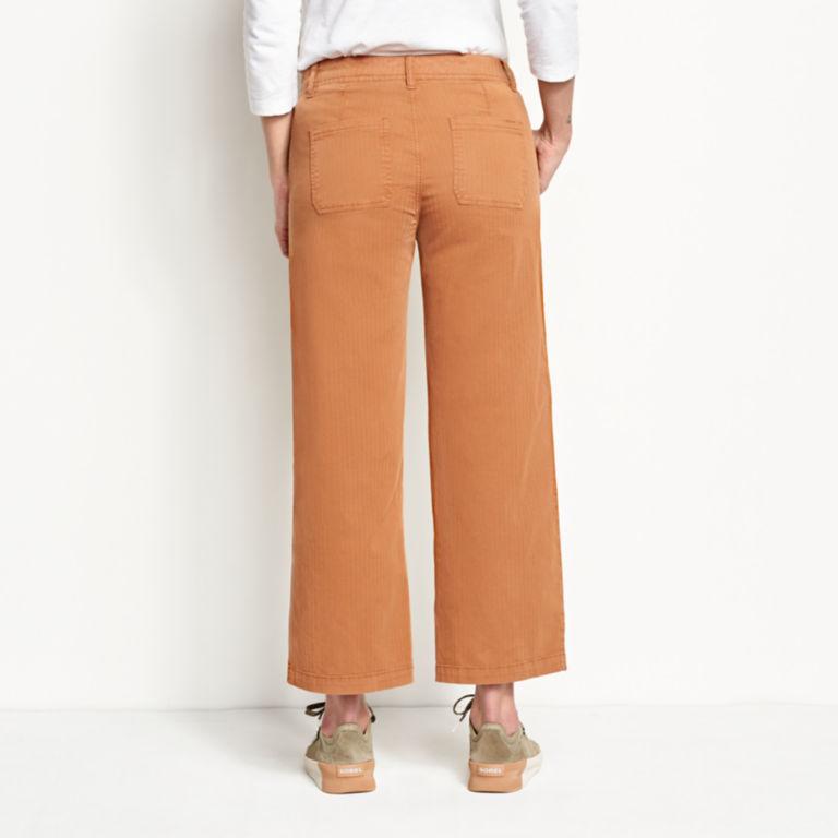 Herringbone Wide-Leg Cropped Pants -  image number 2