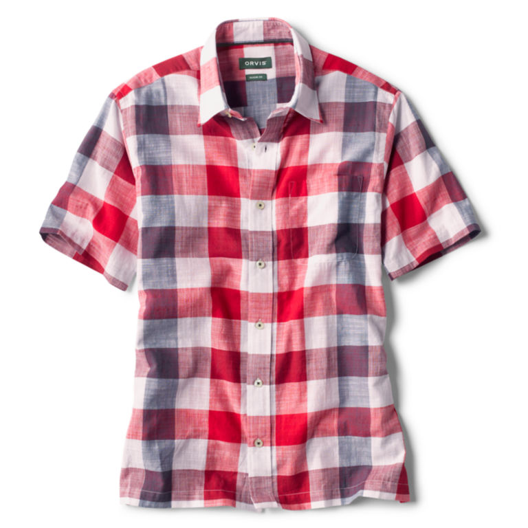 Oversized Red, White, And Blue Check Short-Sleeved Shirt -  image number 0
