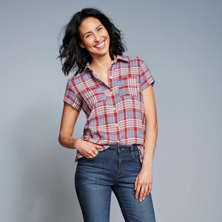 Linen Check Short-Sleeved Shirt -  image number 5