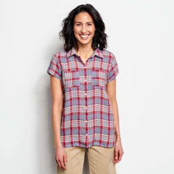 Linen Check Short-Sleeved Shirt -  image number 0