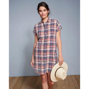Washed Indigo Plaid Dress -  image number 4