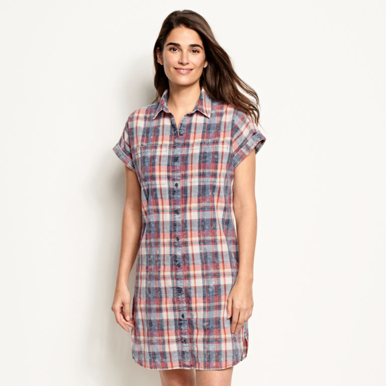 Washed Indigo Plaid Dress -  image number 0
