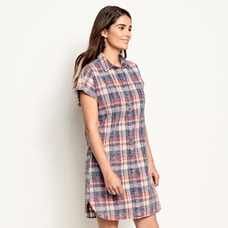 Washed Indigo Plaid Dress -  image number 1