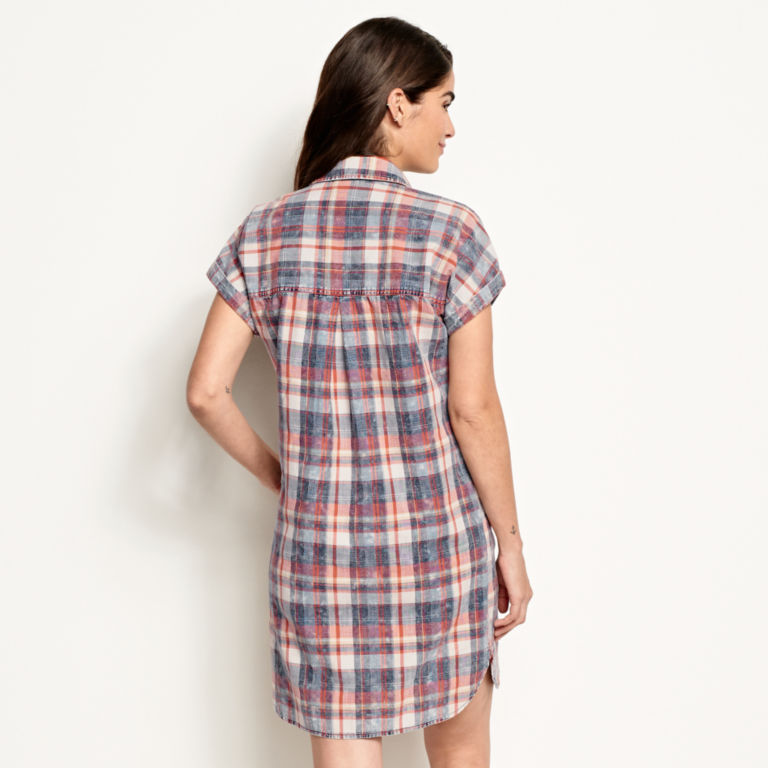 Washed Indigo Plaid Dress -  image number 2