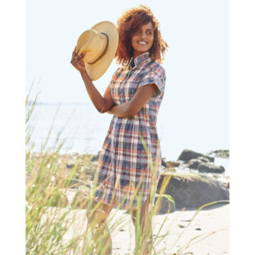 Washed Indigo Plaid Dress -  image number 5