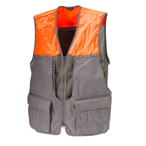 A hunting vest in grey and safety orange