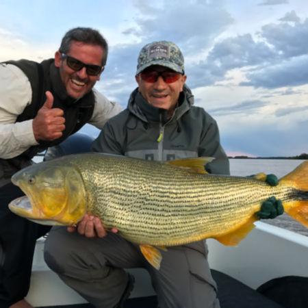 Two men holding a Golden Dorado fish