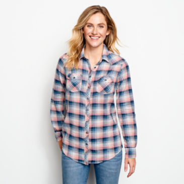 Lightweight Washed Indigo Plaid Shirt -