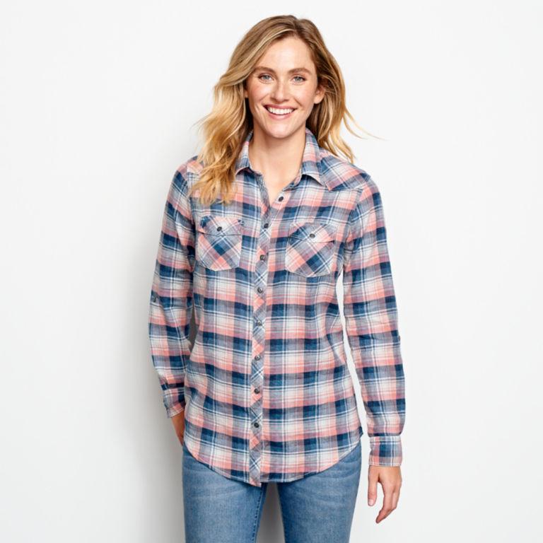 Lightweight Washed Indigo Plaid Shirt -  image number 0