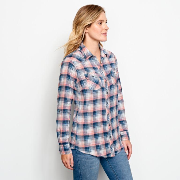 Lightweight Washed Indigo Plaid Shirt -  image number 2