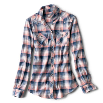 Lightweight Washed Indigo Plaid Shirt -  image number 5