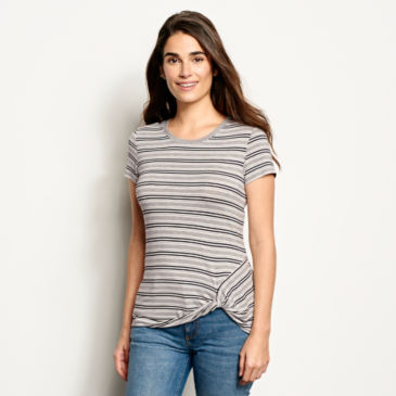 Striped Side-Twist Short-Sleeved Tee -