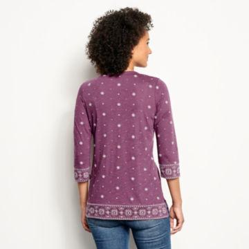 Embroidered Bandana Three-Quarter-Sleeved Tee - EGGPLANT image number 2