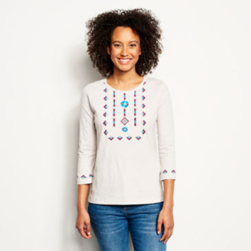 Blue Horizon Embroidered Three-Quarter-Sleeved Tee -