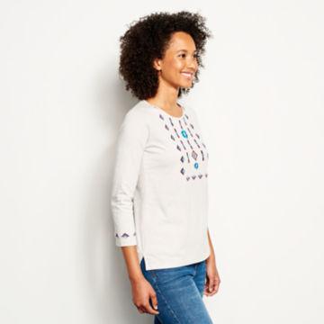 Blue Horizon Embroidered Three-Quarter-Sleeved Tee -  image number 1