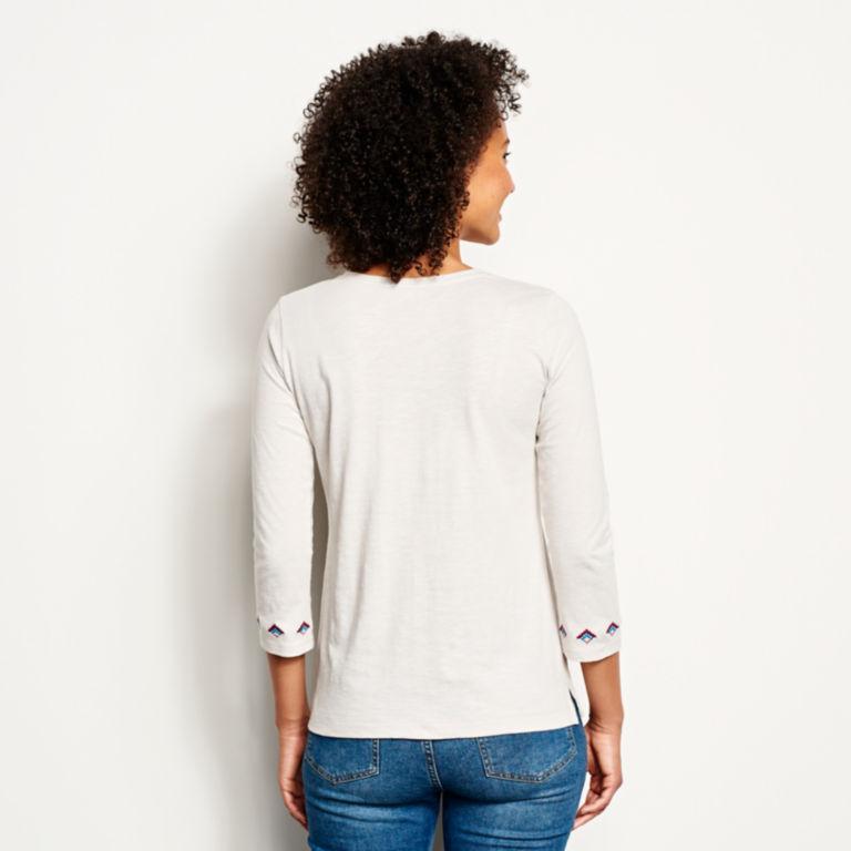 Blue Horizon Embroidered Three-Quarter-Sleeved Tee -  image number 2