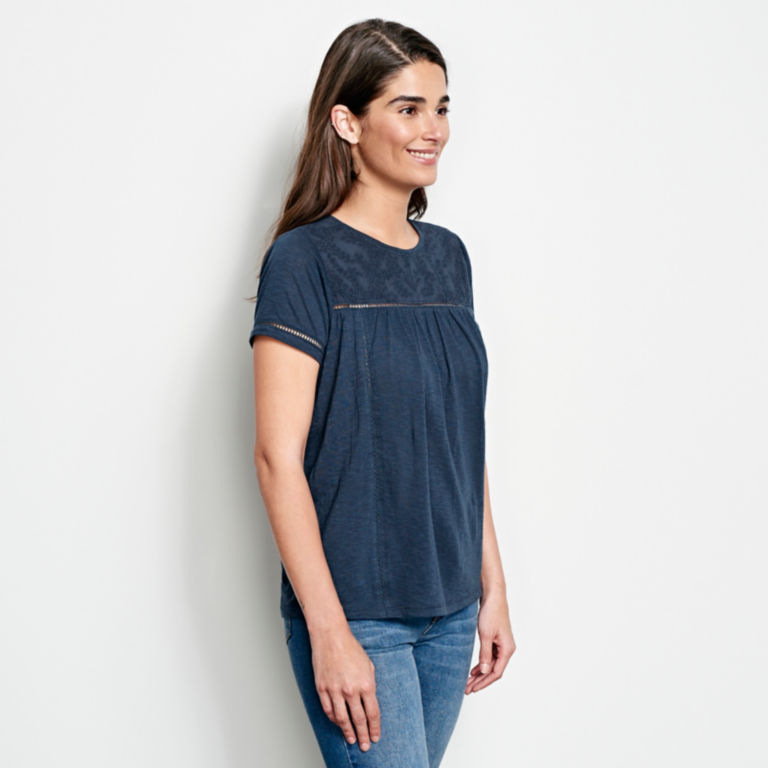 Mixed Media Embroidered Short-Sleeved Tee -  image number 1