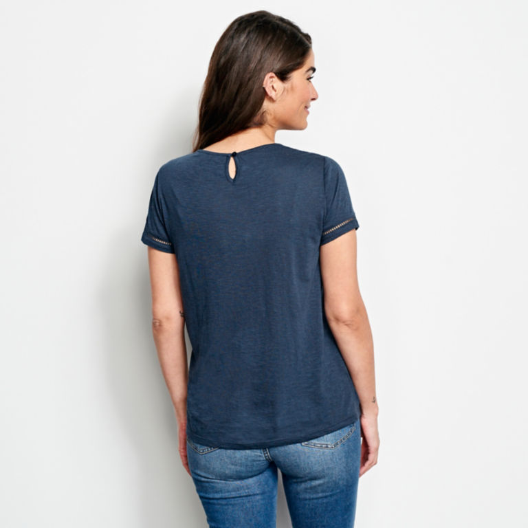 Mixed Media Embroidered Short-Sleeved Tee -  image number 2