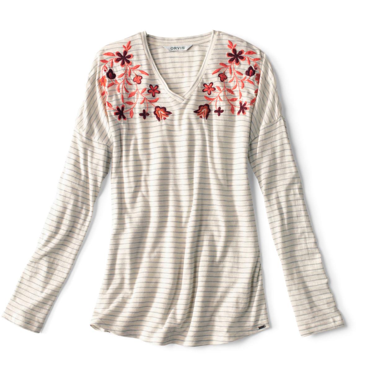 Striped And Embroidered Long-Sleeved V-Neck Tee - BLUE FOGimage number 0