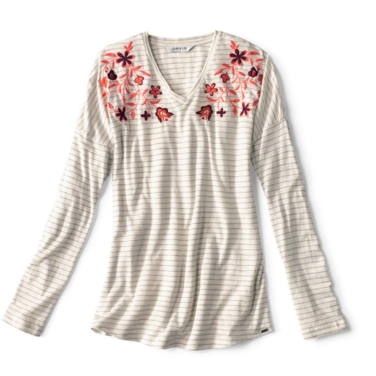 Striped And Embroidered Long-Sleeved V-Neck Tee - BLUE FOG image number 3