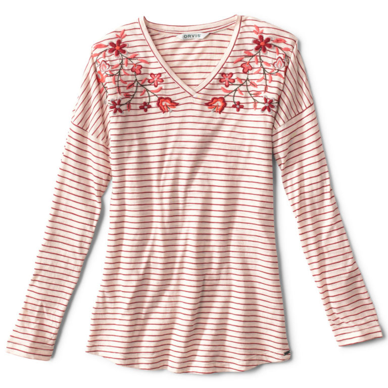Striped And Embroidered Long-Sleeved V-Neck Tee - BEET image number 0