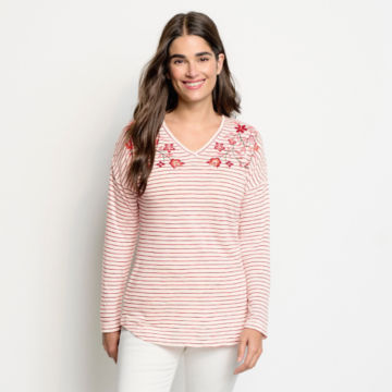 Striped And Embroidered Long-Sleeved V-Neck Tee - BEET image number 1