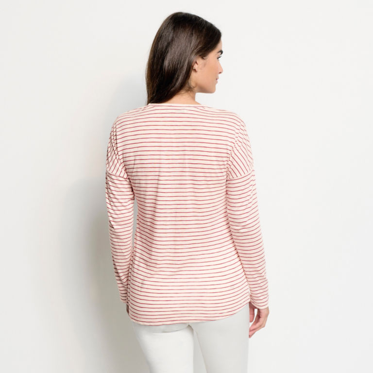 Striped And Embroidered Long-Sleeved V-Neck Tee - BEET image number 3