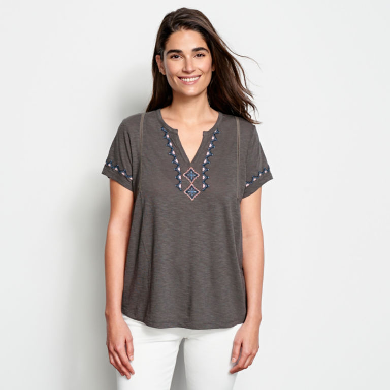 Embroidered V-Neck Short-Sleeved Top -  image number 0