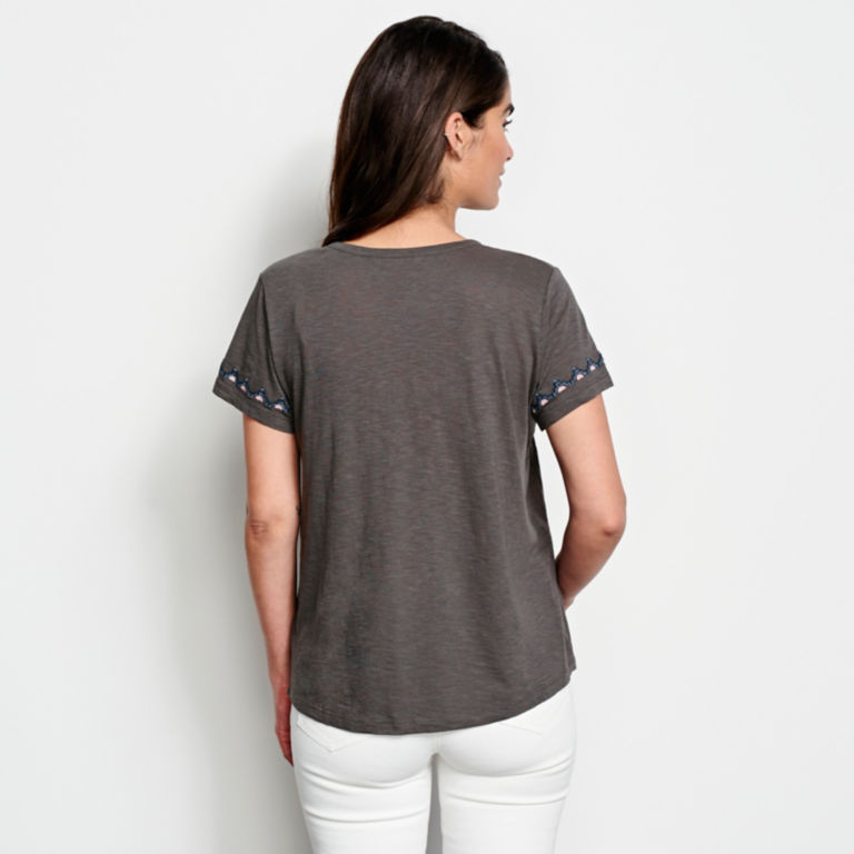 Embroidered V-Neck Short-Sleeved Top -  image number 2