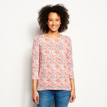 Relaxed Printed Three-Quarter-Sleeved Tee -