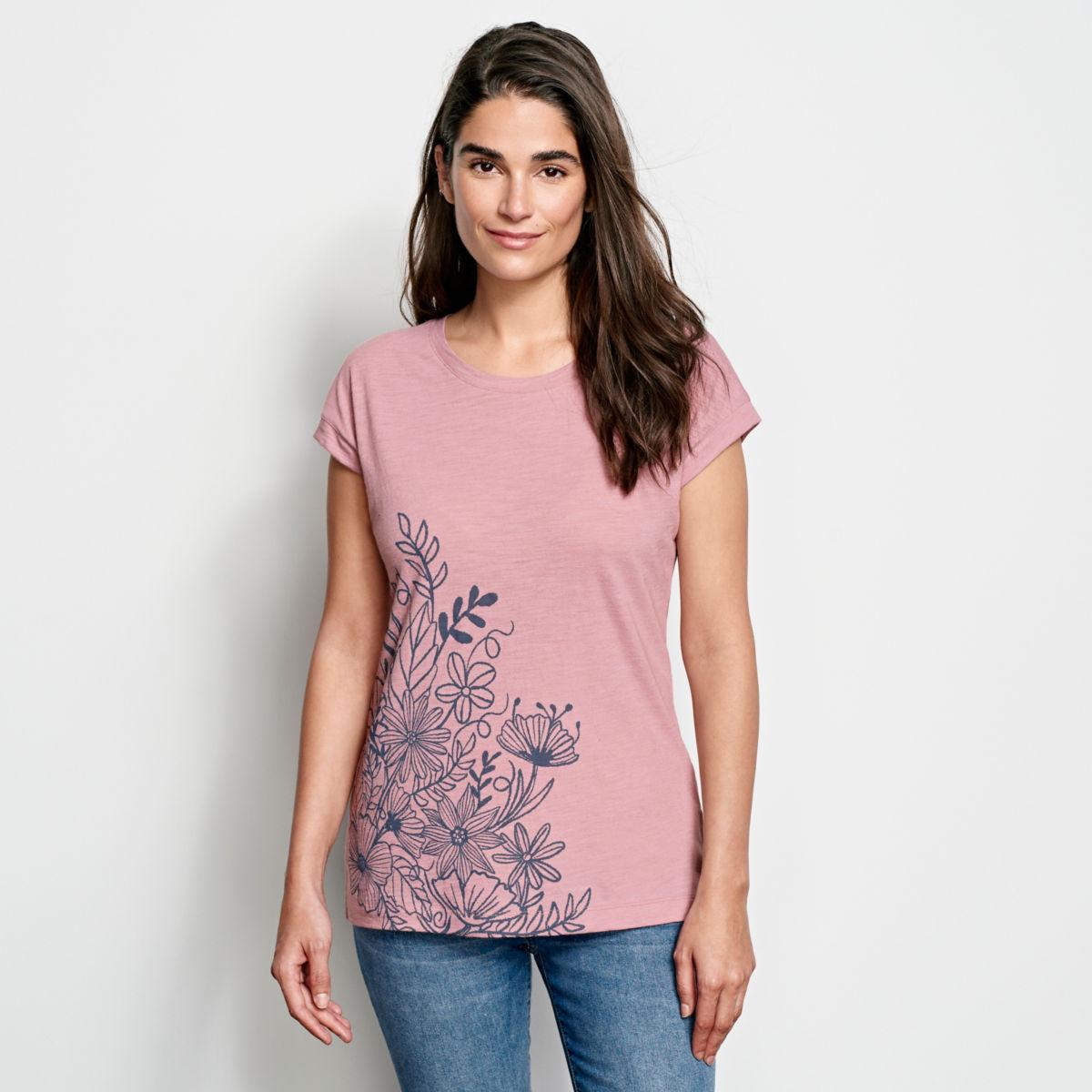 Placed Floral-Printed Dolman Tee - image number 0