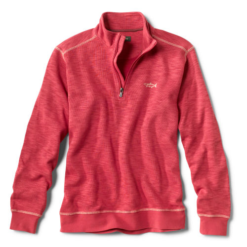 A red quarter-zip sweatshirt with a fish embroidered on the left chest
