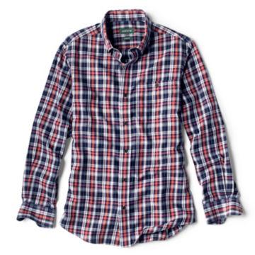 Wrinkle-Free Comfort Stretch Indigo Plaid Long-Sleeved Shirt -  image number 0