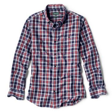Wrinkle-Free Comfort Stretch Indigo Plaid Long-Sleeved Shirt -