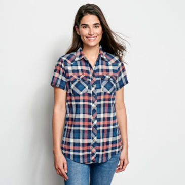 Lightweight Washed Indigo Plaid Short-Sleeved Shirt -