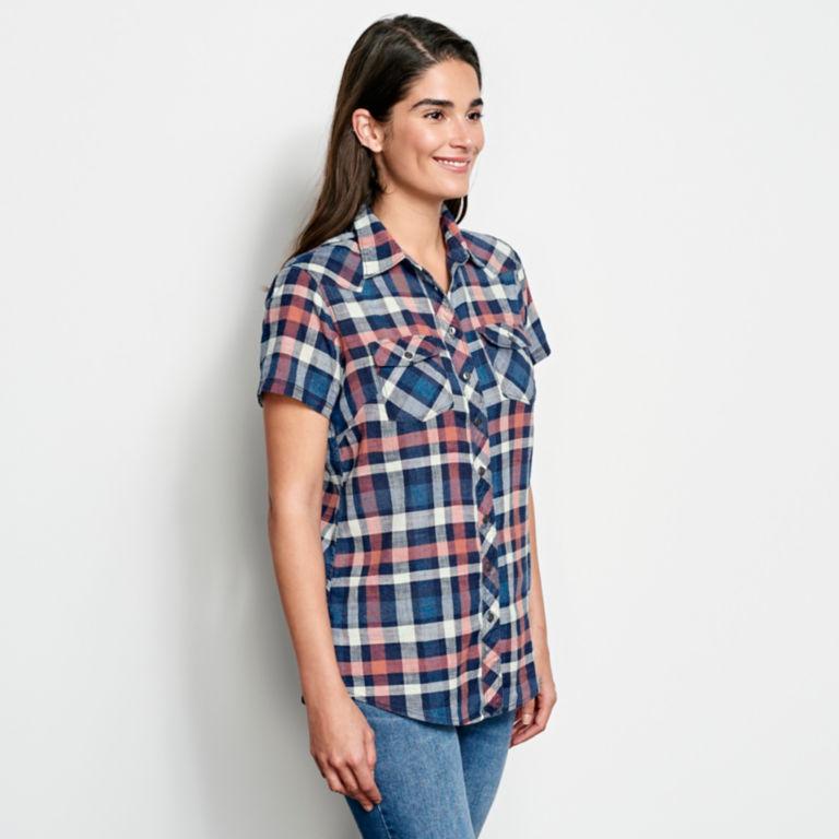 Lightweight Washed Indigo Plaid Short-Sleeved Shirt -  image number 1